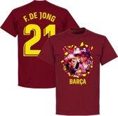 Barcelona F. De Jong 21 Gaudi Foto T-Shirt - Bordeaux Rood - S