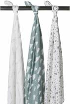 Meyco - Feather-Clouds-Dots - 3-pack hydrofiele swaddles - 120 x 120 cm - Grijs/jade/wit