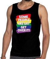 Gayride some people are gay get over it! tanktop/mouwloos shirt - zwart regenboog singlet voor heren -  LHBT kleding S