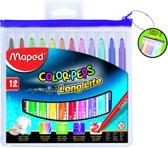 Color'peps goed uitwasbare viltstift - in ophangbaar kunststof etui met rits x  12