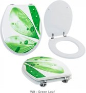 WC Bril met print, toiletbril-Wit - green leaf