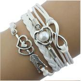 11 - Gevlochten textiel armband wit - armband infinity - armband parel - armband hartjes