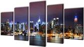 Canvas muurdruk set Kleurrijke New York skyline 100 x 50 cm