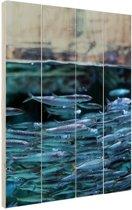 FotoCadeau.nl - Boven en onderwater vissen Hout 20x30 cm - Foto print op Hout (Wanddecoratie)