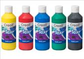 Textielverf op acrylbasis assortiment geel, rood, blauw, groen en zwart flacon 500 ml