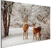 Herten in de sneeuw Aluminium 120x80 cm - Foto print op Aluminium (metaal wanddecoratie)