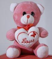 Valentijn - Knuffelbeer - Roze - Love (+/-16 cm)