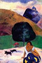 Landscape with Black Pigs and a Crouching Tahitian by Paul Gauguin - 1891