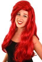 Ariel De Kleine Zeemeermin lange rode pruik met pony - rood mermaid haarwerk met lok