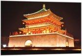 Dibond –Oosterse Verlichte Tempel– 60x40 Foto op Aluminium (Wanddecoratie van metaal)