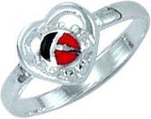 Classics&More Zilveren Ring - Maat 40 - 6.5 mm - Lieveheersbeestje In Hart