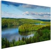Uitzicht op meren  Glas 90x60 cm - Foto print op Glas (Plexiglas wanddecoratie)