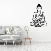 Muursticker Buddha -  Geel -  80 x 107 cm  - Muursticker4Sale