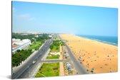 Stranden in de stad Chennai Aluminium 90x60 cm - Foto print op Aluminium (metaal wanddecoratie)