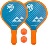 Beachball Beach Tennis Strandtennis Peddelbal Set Beachfun Blauw/Oranje