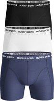 Bjorn Borg boxershorts Essential - 3-pack - zwart - wit en donkerblauw -  Maat S