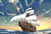 DP® Diamond Painting pakket volwassenen - Afbeelding: Piratenschip - 60 x 90 cm volledige bedekking, vierkante steentjes - 100% Nederlandse productie! - Cat.: Fantasy & Sprookjes
