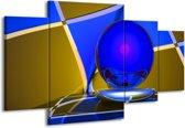 Canvas schilderij Abstract | Blauw, Geel, Grijs | 160x90cm 4Luik