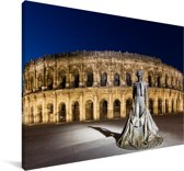 Romeins amfitheater in de Franse stad Nîmes Canvas 30x20 cm - klein - Foto print op Canvas schilderij (Wanddecoratie woonkamer / slaapkamer) / Europese steden Canvas Schilderijen