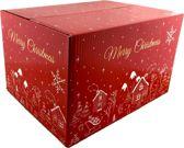 Luxe kerstdoos kerstpakketdoos - 36 x 29 x 23 cm - 10 stuks