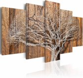 Schilderij Boom in de winter, hout look(dus NIET op hout) 5 delen, 2 maten, bruin/wit