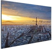 Skyline parijs bij zonsondergang Aluminium 90x60 cm - Foto print op Aluminium (metaal wanddecoratie)