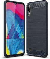 Teleplus Samsung Galaxy A10 Custom Carbon Silicone Case Navy Blue + Nano Screen Protector hoesje