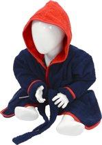Babiezz™ Baby Badjas met Capuchon Donkerblauw - Rood  - Maat  98-110