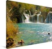 Skradinski Buk-watervallen in het Nationaal Park Krka in Kroatië Canvas 180x120 cm - Foto print op Canvas schilderij (Wanddecoratie woonkamer / slaapkamer) XXL / Groot formaat!