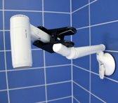 Haardrogerhouder met klem, zuignap Mobeli® met zwenkarm en veiligheidsindicator