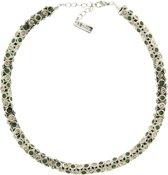 Behave® Ketting klassiek zilver kleur met groene en bruine steentjes 42 cm