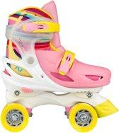 Nijdam Junior Rolschaatsen Meisjes Verstelbaar Hardboot - Rainbow Roller - Roze/Geel/Wit - 30-33
