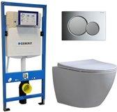 Geberit UP 320 Toiletsets – Inbouw WC Hangtoilet Wandcloset – Shorty Flatline Sigma-01 Chroom/Mat Chroom