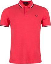 Fred Perry Poloshirt - Maat L  - Mannen - rood/zwart/wit