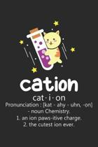Cation: Cat Chemistry Pun ruled Notebook 6x9 Inches - 120 lined pages for notes, drawings, formulas - Organizer writing book p