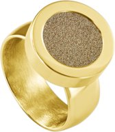 Quiges RVS Schroefsysteem Ring Goudkleurig Glans 20mm met Verwisselbare Glitter Goudkleurig 12mm Mini Munt