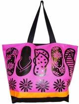 Damestas strandtas Flip Flops met zomer/slippers print roze/zwart 58 cm - Dames handtassen - Shopper - Boodschappentassen