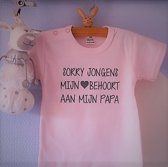 Baby Rompertje tekst dochter meisje eerste Vaderdag cadeau   Sorry jongens mijn hart behoort aan mijn papa   korte mouwen   roze met grijs   maat 74-80   mooiste cadeautje kind cadeautje liefste lief leukste mijn is de verjaardag jarig gefeliciteerd