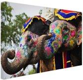 Twee beschilderde olifanten Canvas 30x20 cm - klein - Foto print op Canvas schilderij (Wanddecoratie woonkamer / slaapkamer)