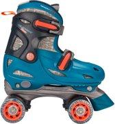 Nijdam Junior Rolschaatsen Junior Verstelbaar Hardboot - Disco Twirl - Turquoise/Antraciet/Fluororanje/Zilvergrijs - 27-30