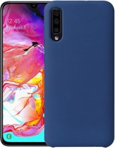 Samsung Galaxy A50 Hoesje Siliconen Hoes Back Cover - Donker Blauw