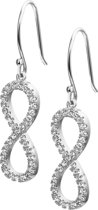 The Jewelry Collection Oorhangers Infinity Zirkonia - Zilver Gerhodineerd