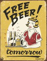 Signs-USA Free Beer - Retro Wandbord - Metaal - 40x30 cm