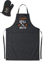 Mijncadeautje - Barbecueschort - Grill Master met Bestek - zwart - XXL 97 x 68 cm - gratis BBQ cap