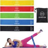 Gymston - 5 Sport Elastiek Banden Set/ fitness elastiek - Inclusief Draagtas en E-Book(pdf) + Handleiding met weerstandsbanden oefeningen!
