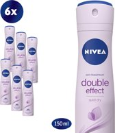 NIVEA Double Effect Deodorant Spray - 6 x 150 ml - Voordeelverpakking
