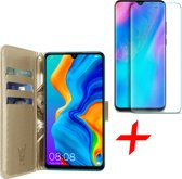 iCall - Huawei P30 Lite Hoesje + Screenprotector Tempered Glass - Lederen TPU Book Case Portemonnee Flip Wallet - Goud