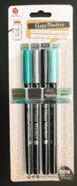Glas penselen Glasstiften Porseleinstiften glas markers 4 verschillende kleuren  Groen, Grijs , Zwart & Mint