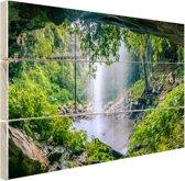 Foto van regenwoud met waterval Hout 30x20 cm - klein - Foto print op Hout (Wanddecoratie)