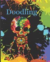Halloween Sugar Skull Colorful Splatter Cute Gift Sketch Book Blank Paper Pad Journal for Doodling Sketching Coloring or Writing
